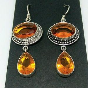 Jewelry - 925 Silver Citrine Topaz Dangly Drop Earrings New!
